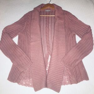 Garnet Hill Pink Sweater Cardigan with Lace Size L